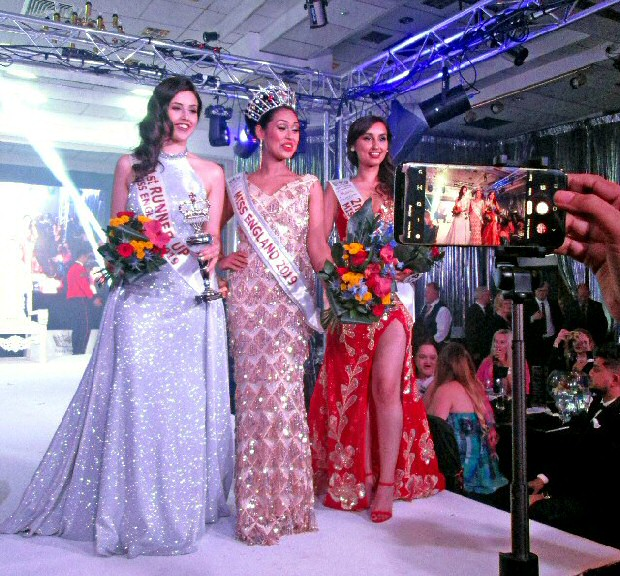 The just crowned Miss England 2019 - Basha Mukherjee, along with Runners Up Domenique  Fragale and 3rd place Pratishtha Raut, as they lineded up for first shoot with crown and flowers.