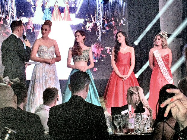 Miss Engalnd 2018 along with Bhasha Mukherjee, Domenique  Fragale and  Pratishtha Raut,  as they waited  to see who had won the title out of the 3 of them.