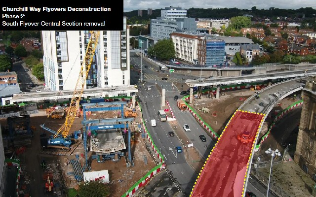 Coming down: Phase 2 of deconstruction of Churchill Way Flyovers in Liverpool City centre hits key milestone this weekend...