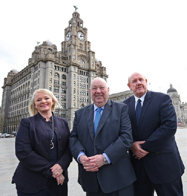 Mayor Joe Anderson (centre) with Denise Barrett-Baxendale and Brian Barwick