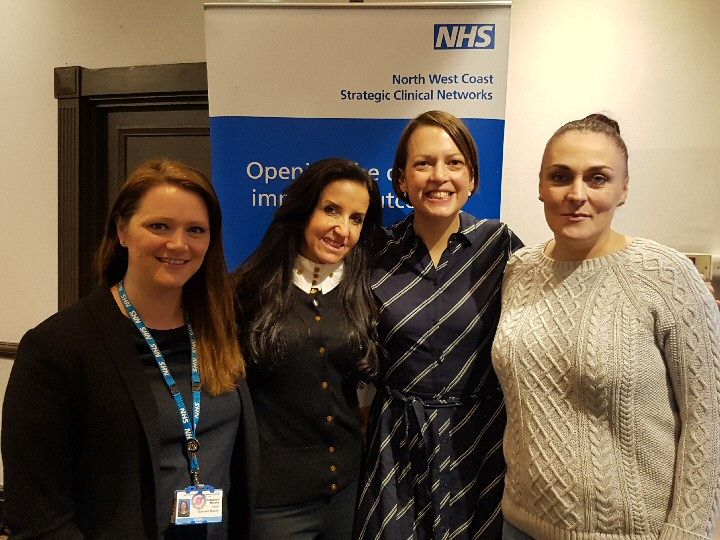 Photo caption:- From left to right:- Alex Murphy (Prevention Coordinator, Lancashire and South Cumbria Local Maternity System), Dr Lisa Marsland (Chair of the North West Coast Parent Infant Relationship Partnership and Lead for Parent Infant Mental Health at North West Boroughs Healthcare), Sally Hogg (Head of Policy and campaigning at Parent Infant Foundation, Marion (service user and expert by experience).