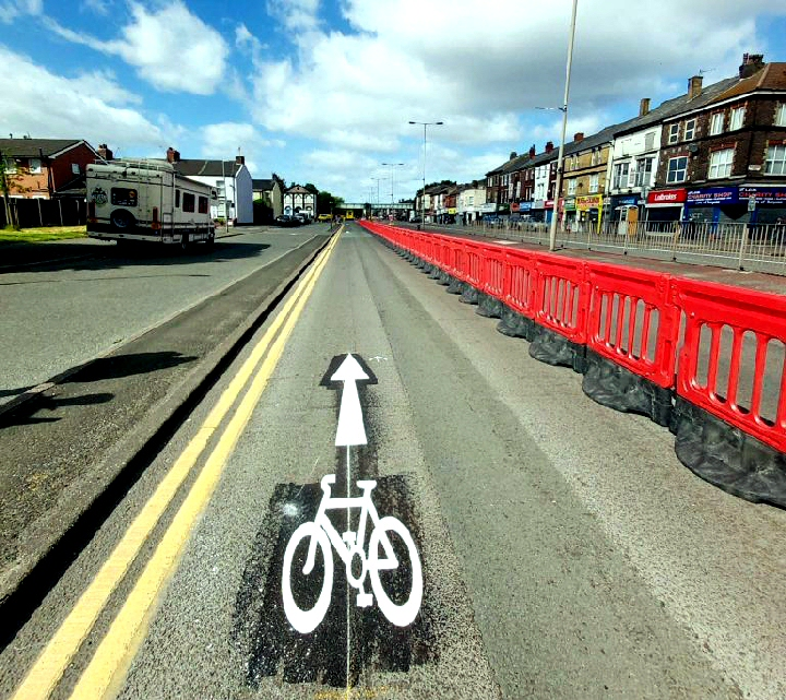 Bikes: The pop up cycle lane on West Derby Road, which was installed in May.