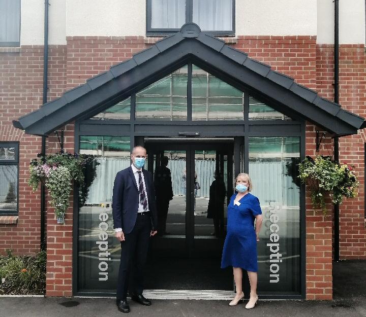 Bill Esterson and Debra Roose on a visit to Formby Manor Care Centre